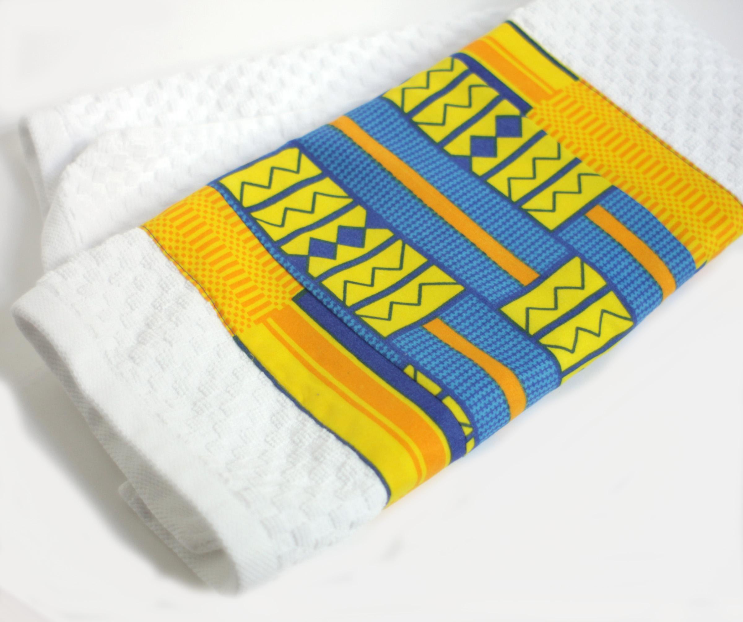 Kente Blue & Yellow Cotton Kitchen Towels