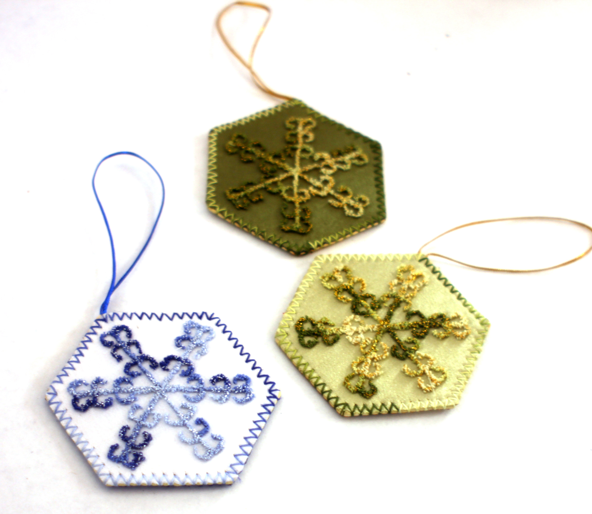 Snowflake Embroidered Ornaments Fair Trade Christmas Decorations